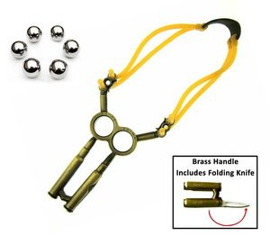 Slingshot | Brass Metal 30-06 Rifle Bullet with Stainless Steel Folding Blade