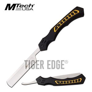 Straight Razor | Mtech Tactical Black Yellow Stainless Steel Blade Folding Knife