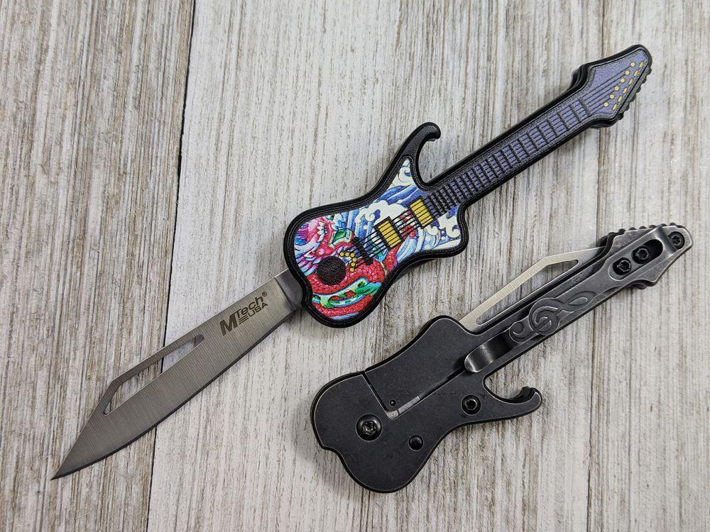 Folding Knife | Mtech Mini Electric Guitar Multicolor Trippy Pocket Blade