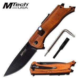 Folding Knife | Mtech Black Blade Wood Multi-Tool Led Light, Fire Starter Edc Br