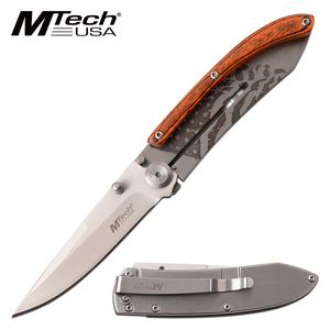 Folding Knife | Mtech Wood Slim Minimal USA American Flag Pocket Gift MT-1151PF