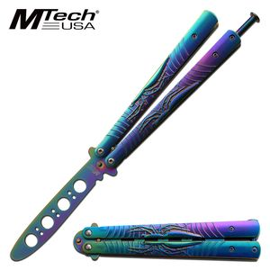 Training Butterfly Knife | Rainbow NO BLADE Martial Arts Balisong MT-1166RB