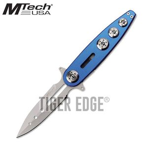 FOLDING POCKET KNIFE | Mtech Blue Aluminum Silver Stiletto Blade Tactical EDC