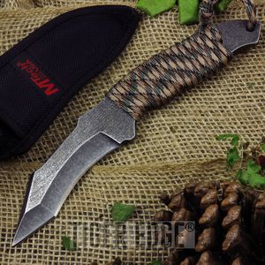 Mtech Cord-Wrapped Fixed-Blade Full Tang Curved Tanto Tactical Knife