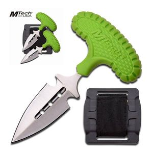 Mtech Set Of Two (2) Punch Daggers Green Rubber Handle W/ Belt Mount Sheath