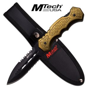 Fixed Blade Tactical Knife | Mtech Green Black Double Edge Serrated Dagger Blade