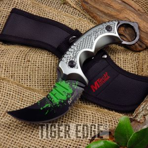 Mtech Gray Inverted Karambit Tactical Combat Serrated Fixed-Blade Knife