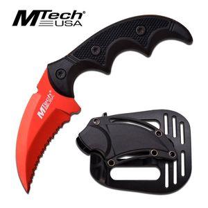 Fixed Blade Tactical Knife Mtech Red Black Karambit Serrated Full Tang Defense