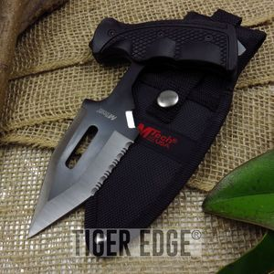 PUSH DAGGER | Mtech Black Silver Serrated Pistol Grip