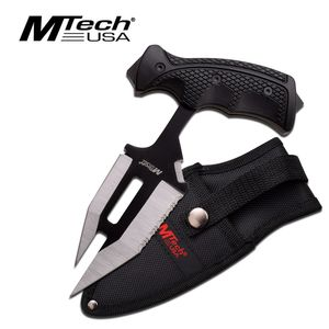 Mtech 'T'-Handle Black/Silver Rubber Grip Tactical Push Dagger