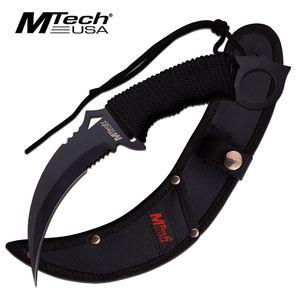 FIXED-BLADE TACTICAL KNIFE | Mtech Black Blade Paracord Serrated Combat Karambit