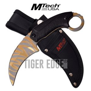 Fixed-Blade Tactical Knife | Mtech Gold Tiger Stripe Karambit Tactical Combat