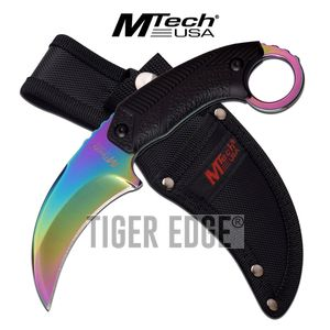 Fixed-Blade Tactical Knife | Mtech Rainbow Titanium Karambit Tactical Combat