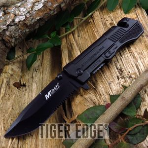 Mtech Marines Pistol Slide Shaped Black Folding Knife