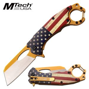 Spring-Assist Folding Knife | USA American Flag Cleaver Blade Tactical Carabiner