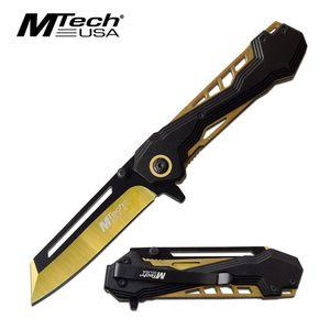 Spring-Assist Folding Knife   Mtech Gold Black 3.25