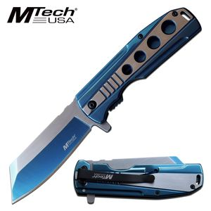 Spring-Assist Folding Knife Mtech Stainless Steel Blue 3.75