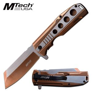 Spring-Assist Folding Knife Mtech Stainless Steel Copper 3.75