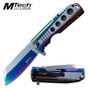 Spring-Assist Folding Knife Mtech Stainless Steel Rainbow 3.75