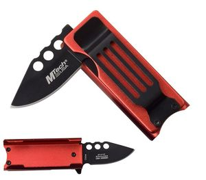 Spring-Assist Folding Knife Cigarette Lighter Case | Black Blade, Red Aluminum
