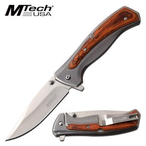 Spring-Assist Folding Knife | Mtech Brown Wood/Steel Handle Frame Lock Tactical