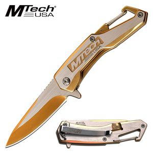 Spring-Assist Folding Knife | Mtech Gold Silver EDC Tactical Pocket MT-A1144GD