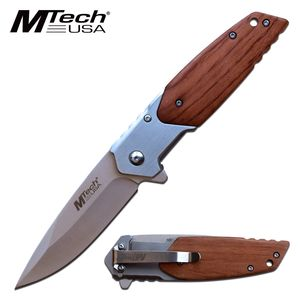 Spring-Assist Folding Knife | Mtech Brown Wood Handle Gray Blade Tactical EDC
