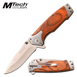 Spring-Assist Folding Knife | Mtech Brown Wood Handle 3.25
