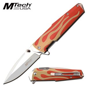 Spring-Assist Folding Knife | Mtech Red Orange Fire Tactical Folder Mt-A1185Rd