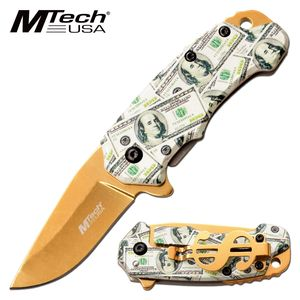 Spring-Assist Folding Knife | Mtech EDC Cash Money Gold 2