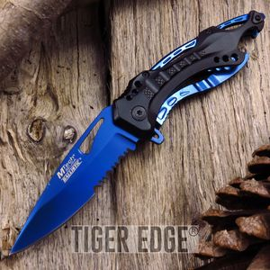 Mtech Blue Titanium Futuristic Spring-Assisted Serrated Blade Folding Knife