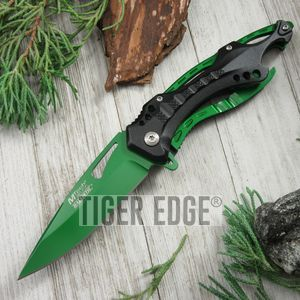 Spring-Assist Folding Pocket Knife Mtech Green Blade Survival Black Tactical