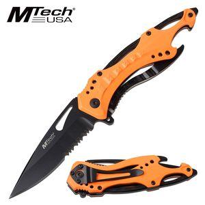 Spring-Assist Folding Knife | Mtech Tactical Spearpoint Serrated Blade - Orange