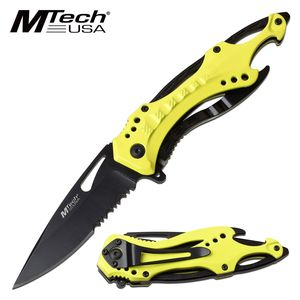 Spring-Assist Folding Knife | Mtech Tactical Spearpoint Serrated Blade - Yellow