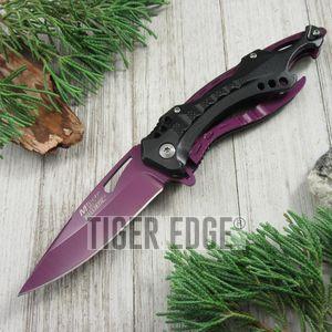 Spring-Assist Folding Pocket Knife Mtech Purple Blade Survival Black Tactical