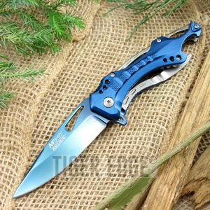 Spring-Assist Folding Pocket Knife Mtech Blue Blade Survival Black Tactical Edc