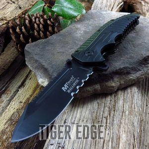 Mtech Army Green, Black Serrated Spring-Assist Tactical Folding Knife