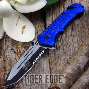 Mtech Blue Serrated Tactical Rescue Tanto Spring-Assisted Folding Knife