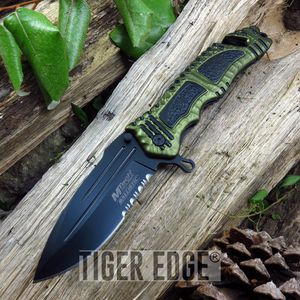 Mtech Tactical Spring-Assist Rescue Folding Knife Army Green Everyday Carry