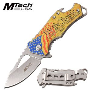 Spring-Assist Folding Knife | US Constitution Patriot American Flag - Yellow