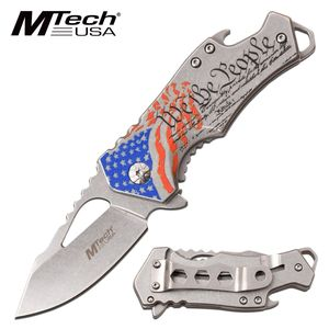 Spring-Assist Folding Knife | Us Constitution Patriot American Flag - Gray