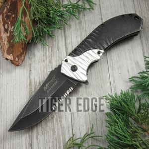 Mtech 'Beast' Black/White Spring-Assisted Folding Knife Tactical Serrated