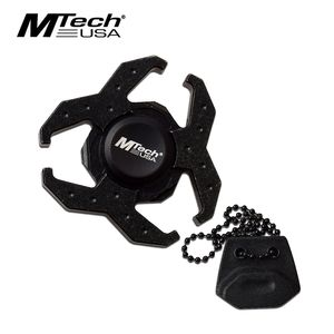 Fidget Spinner | Black Aluminum Biohazard + Neck Lanyard Sheath