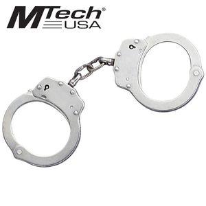Nickel Plated Silver Double-Lock Handcuffs w/ 2 Keys