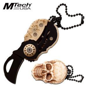 Folding Knife Key Chain | Mtech Mini Skull Bead Chain Karambit Folder MT-SKULL