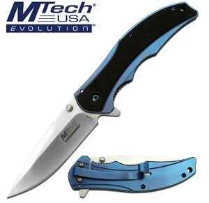 Manual Folding Knife Mtech EVOLUTION Black Blue Ball Bearing Pivot Tactical EDC