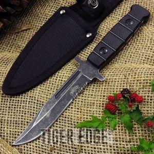 Classic Serrated Black Multi-use Combat Knife Stonewash Blade ABS Handle
