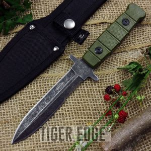 Serrated Army Green Full Tang Dagger Double Edged Knife Stonewash Blade