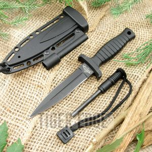 FIXED BLADE DAGGER Black Firestarter Sheath Survival Tactical Boot Neck MU1141BK