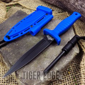 FIXED BLADE DAGGER Blue Firestarter Sheath Survival Tactical Boot Neck MU-1141BL